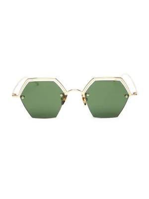 Smoke X Mirrors The Line 47Mm Hexagonal Sunglasses In Shiny Gold