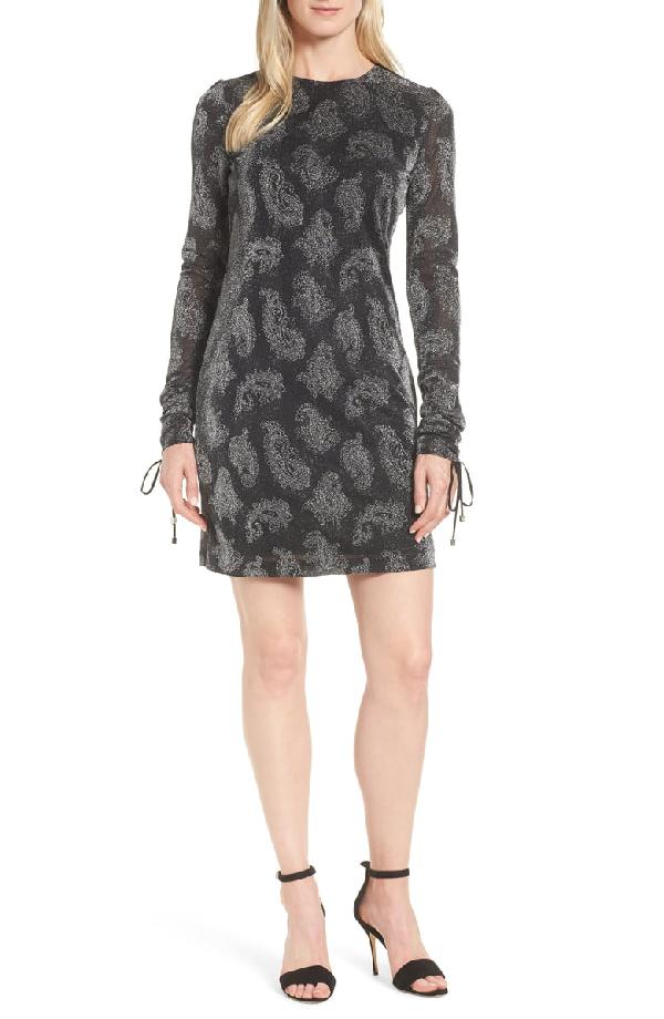Michael Michael Kors Drawstring-sleeve Jewel-neck Metallic Paisley Jacquard Dress In Black/ Silver