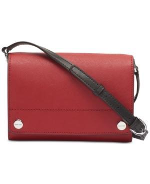 Calvin Klein Susan Saffiano Leather Crossbody In Red/Silver