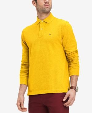 14578c05 Tommy Hilfiger Men's Classic Fit Long Sleeve Polo Shirt, Created For Macy's  In Yolk Heather