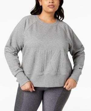 Nike Plus Size Embossed-Logo Dri-Fit Fleece Sweatshirt In Carbon Heather/Black