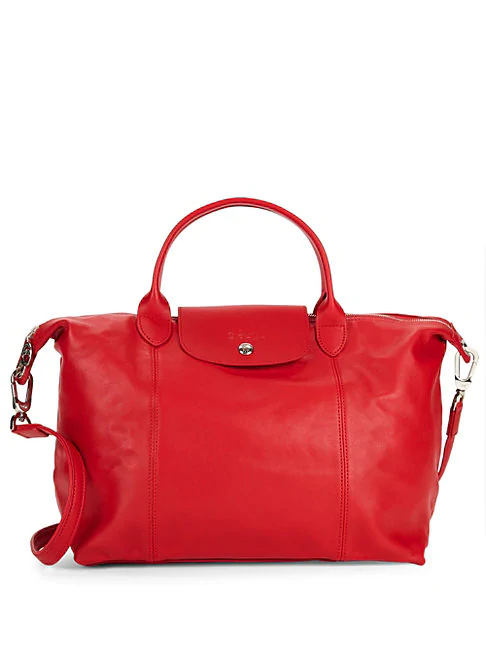 Longchamp Medium Le Pliage Leather Tote In Cherry