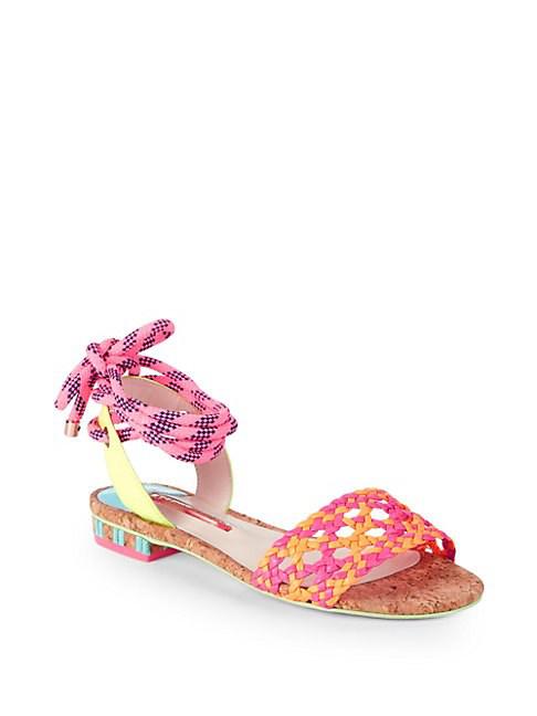 Sophia Webster Nia Woven Leather Ankle-tie Sandals In Orange Magenta