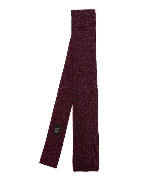 Richard James Knitted Zig Zag Silk Tie In Brown