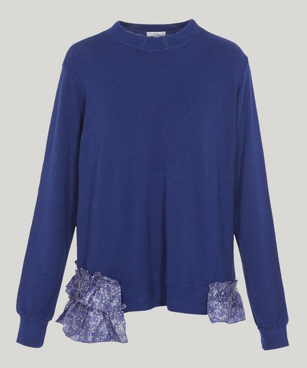 Clu Ruffled Floral Sweater In Blue