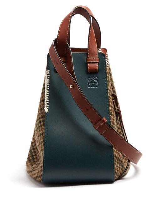 Loewe Green & Tan Tweed Hammock Medium Bag In 4445 Cypres