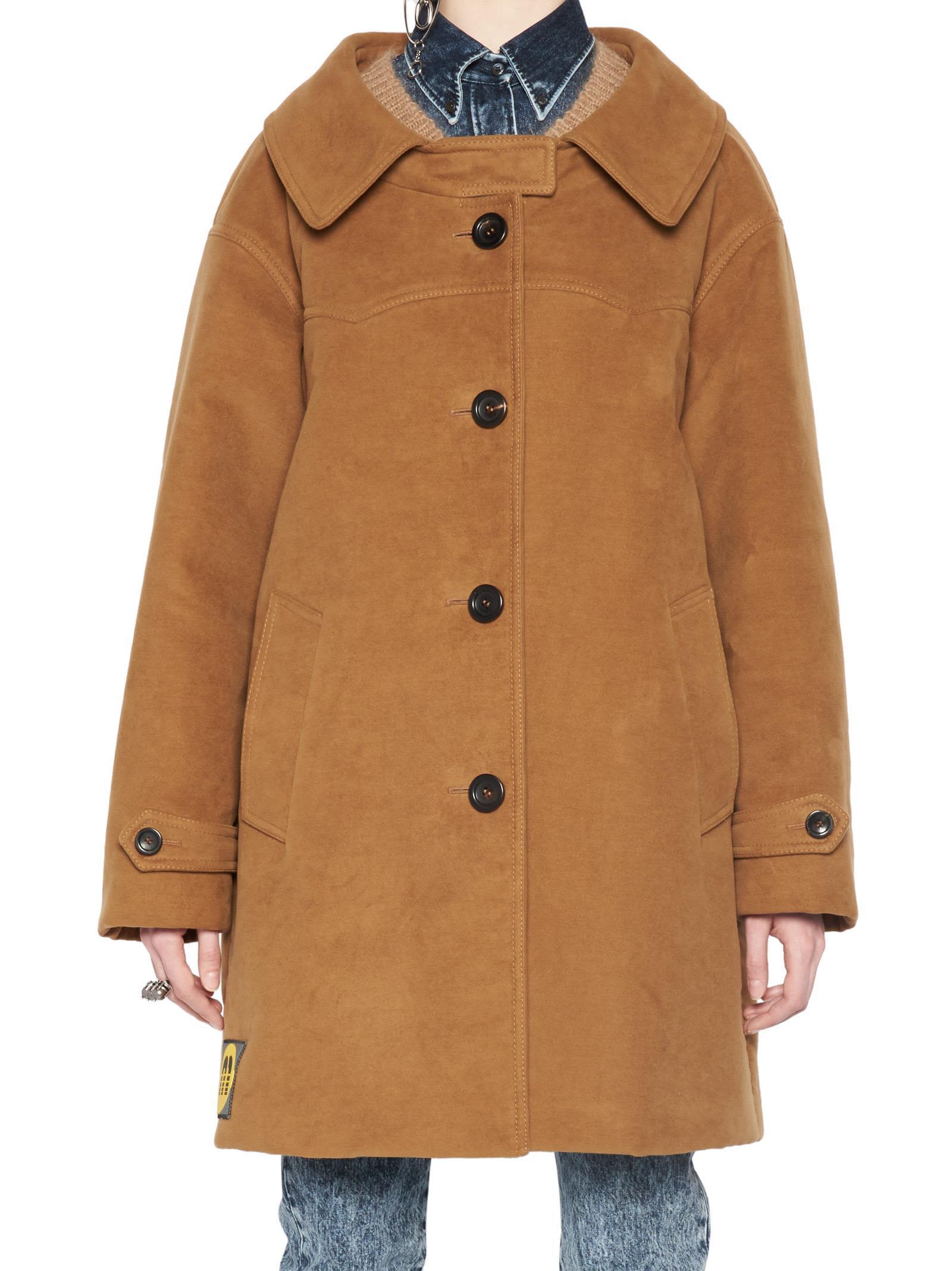 4e2400a6b12 Miu Miu  Moleskine  Coat In Brown