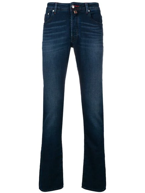 Jacob Cohen Stonewashed Bootcut Jeans In Blue