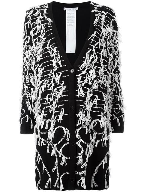 Max Mara Allover Embroidery Cardigan In Black