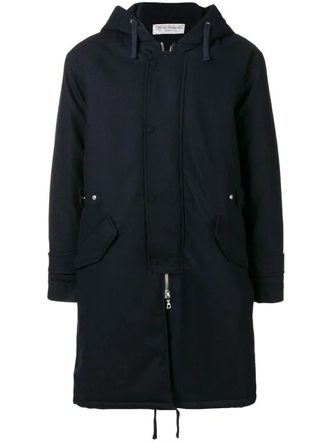 Officine Generale Navy Hooded Wool-blend Coat In Blue