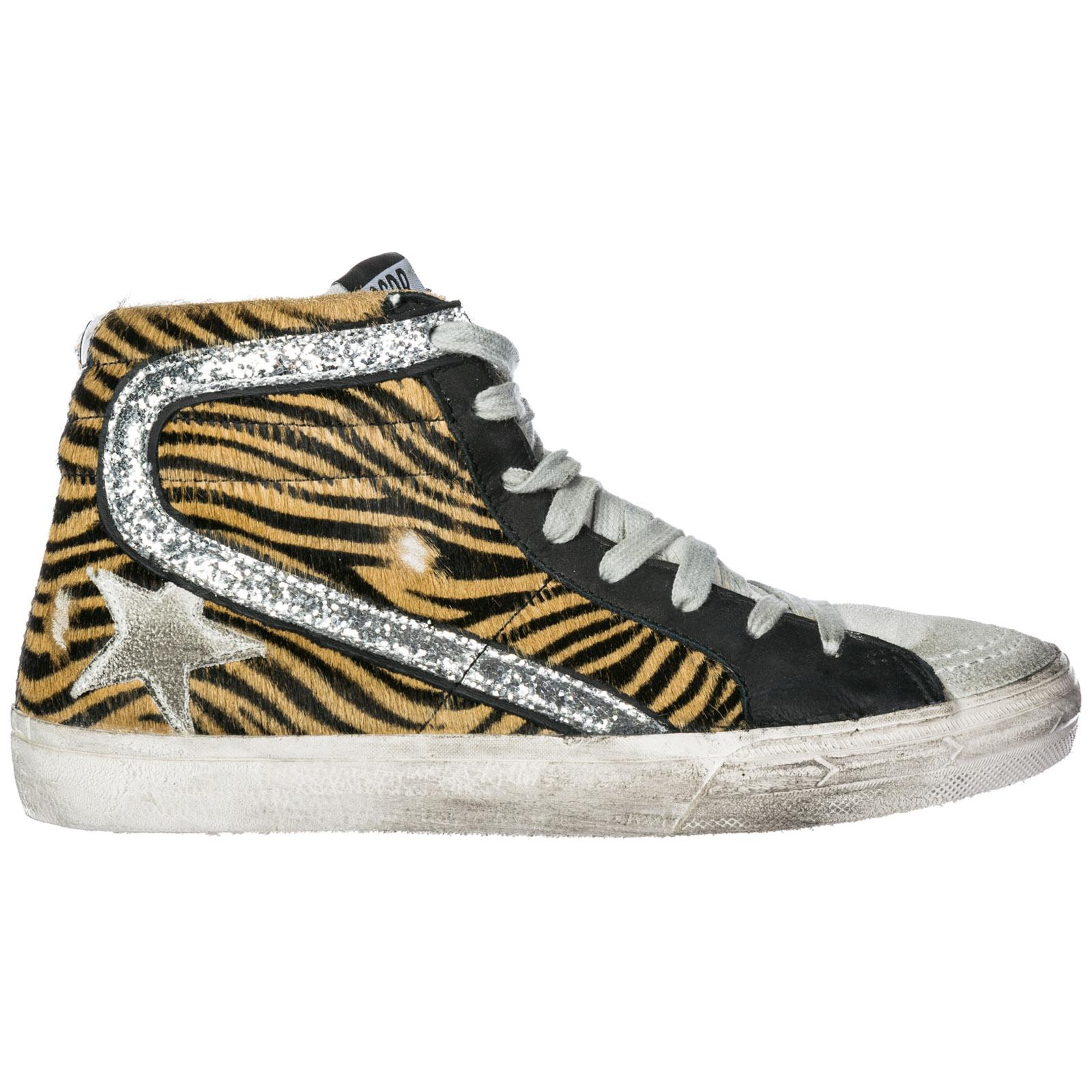 Golden Goose Women's Shoes High Top Suede Trainers Sneakers Slide In Animal Print