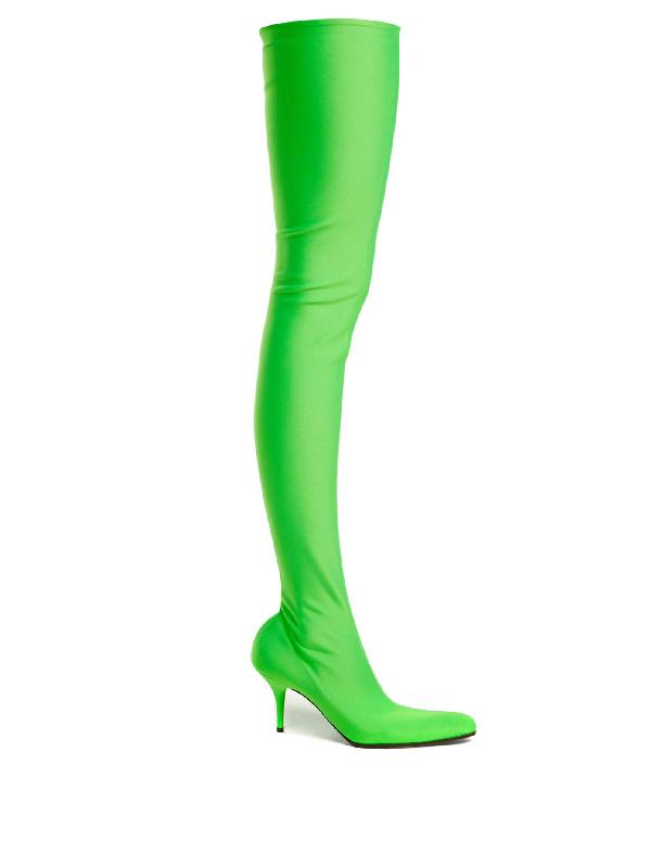 Balenciaga Over-The-Knee Sock Boots In Green