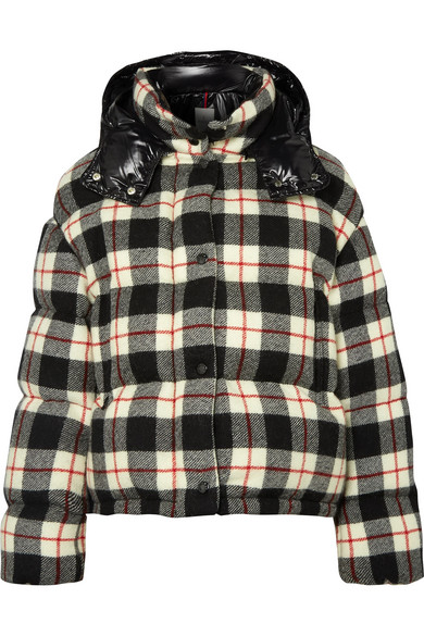 Moncler Hooded Quilted Checked Wool And Shell Down Jacket In