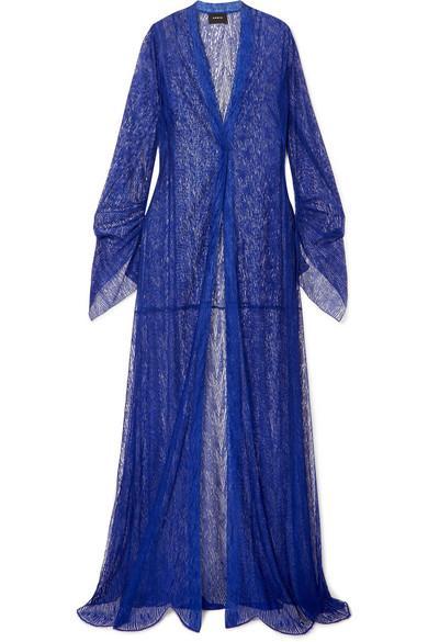 Akris Draped Lace Coat In Cobalt Blue
