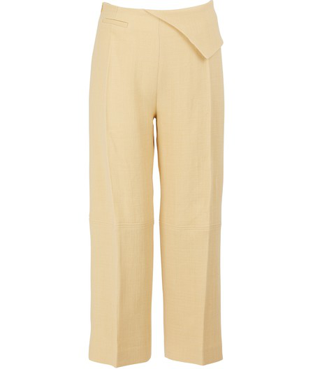Jacquemus Joao Cropped Wool-Blend Straight-Leg Pants In Pale Yellow