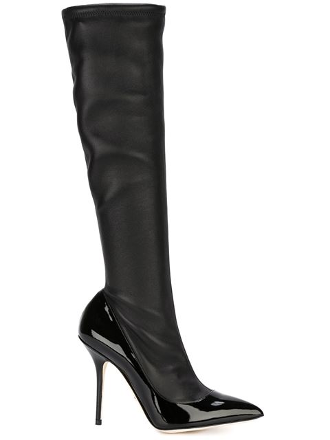 Dolce & Gabbana Leather & Patent Knee-High Boots In Black