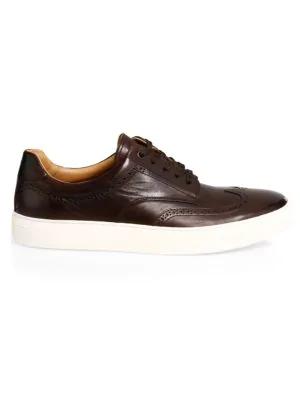 3dc2efe5317 Hugo Boss Timeless Leather Sneakers In Dark Brown. Saks Fifth Avenue