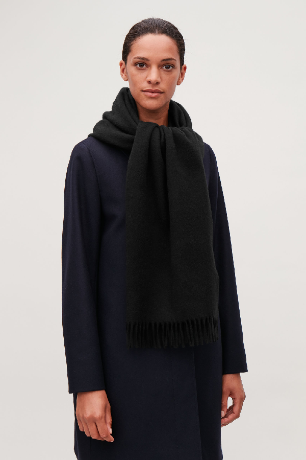 Cos Recycled Wool Mix Scarf In Black