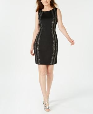 Calvin Klein Petite Embellished Sheath Dress In Black