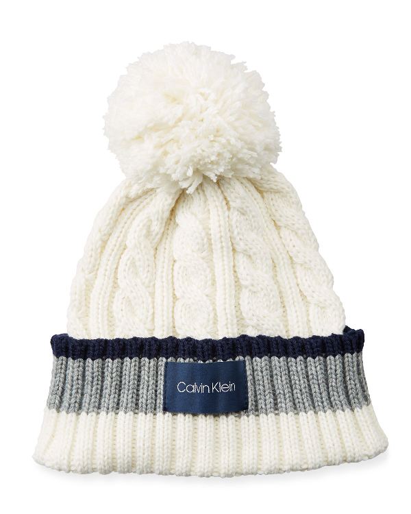 b119a6e5efc Calvin Klein Colorblock Cable Knit Beanie W Pompom In Cream