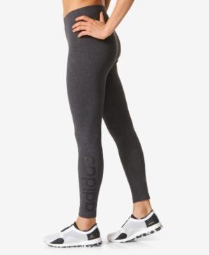 Adidas Originals Adidas Essential Linear Logo Leggings In Dark Grey Heather/Black