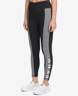 Dkny Sport Colorblocked Logo High-Waist Leggings, Created For Macy's In Black