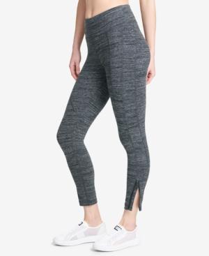 Dkny Sport Tummy-Control Zip-Cuff Leggings In Blacktop Heather