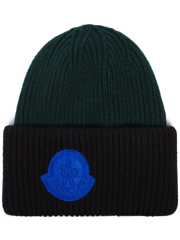 ef8c8117494 Moncler Black And Forest Green Virgin Wool Beanie Hat