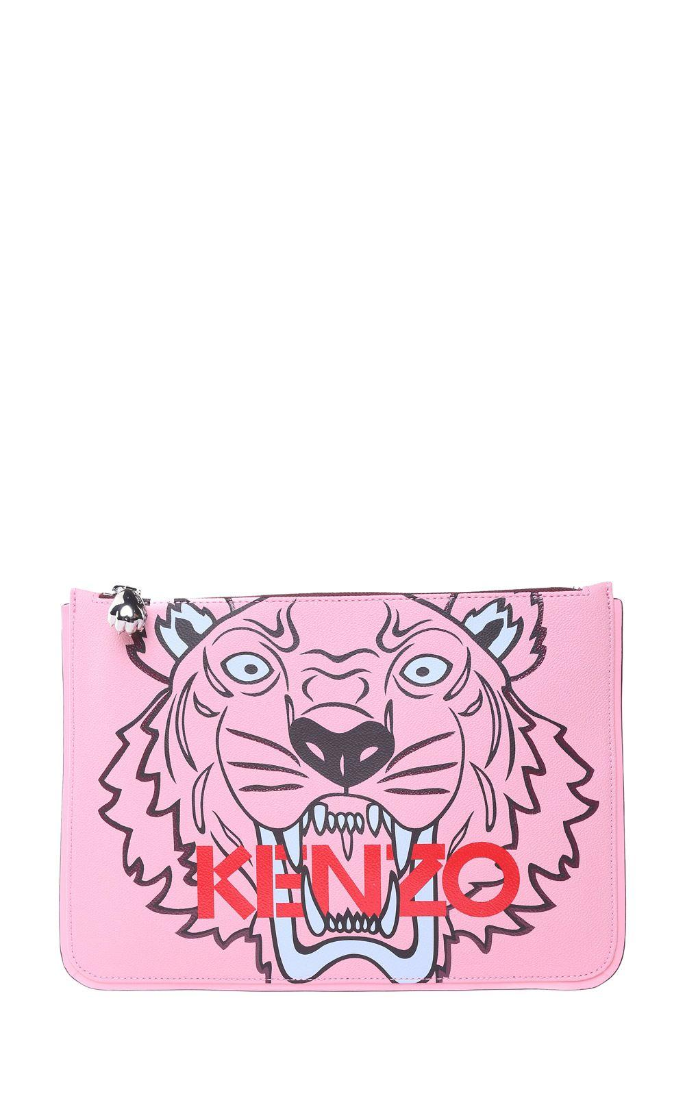 1db10524 Kenzo Tiger A5 Faux-Leather Clutch In Rosa | ModeSens