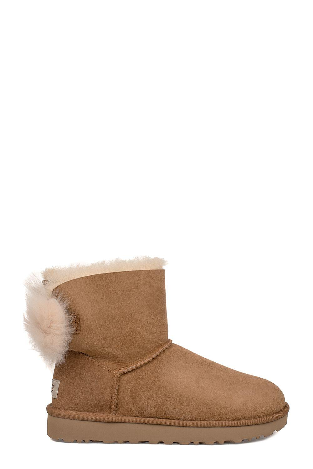 Ugg Chestnut Fluff Bow Mini Low Boot In Brown