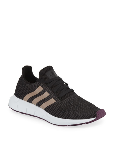 b3e7d6a58627c ADIDAS ORIGINALS. Women s Swift Run Lace Up Athletic Sneakers in Black Ash  Pearl