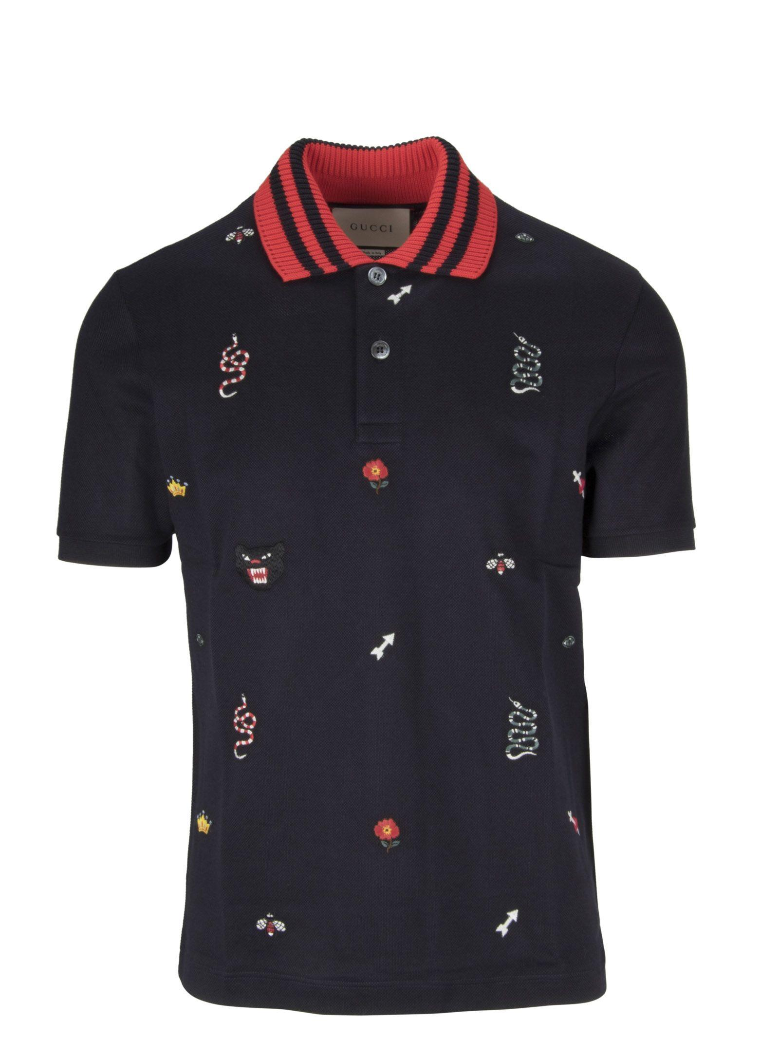 ab112982 Gucci Patched Motifs Polo Shirt In 4033 | ModeSens