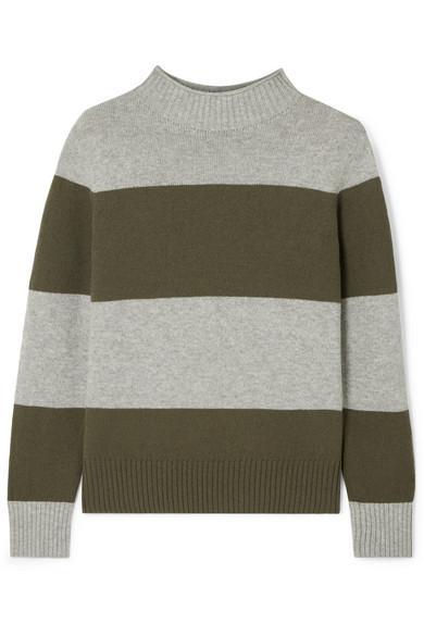 J.Crew Striped Wool-Blend Sweater In Green