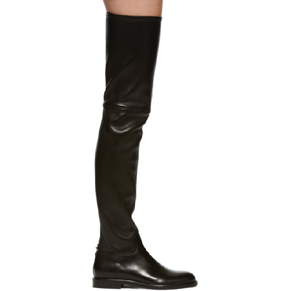 4fc02ce9043 Valentino Shadows Over-The-Knee Leather Boots In 0No Black   ModeSens