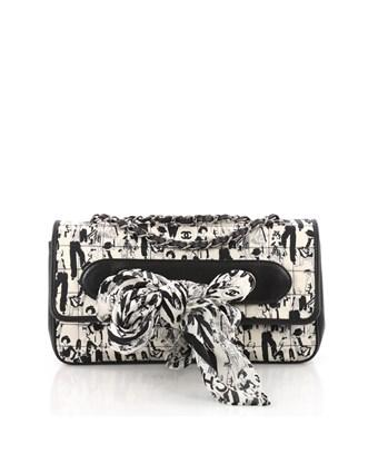 77863d6b06b9 CHANEL. Pre-Owned: Limited Edition Scarf Flap Bag Printed Silk And Leather  Medium in White