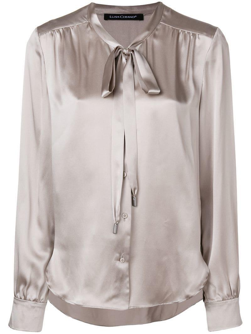 29684ac0b6d1c Luisa Cerano Bow Tie Shirt - Grey