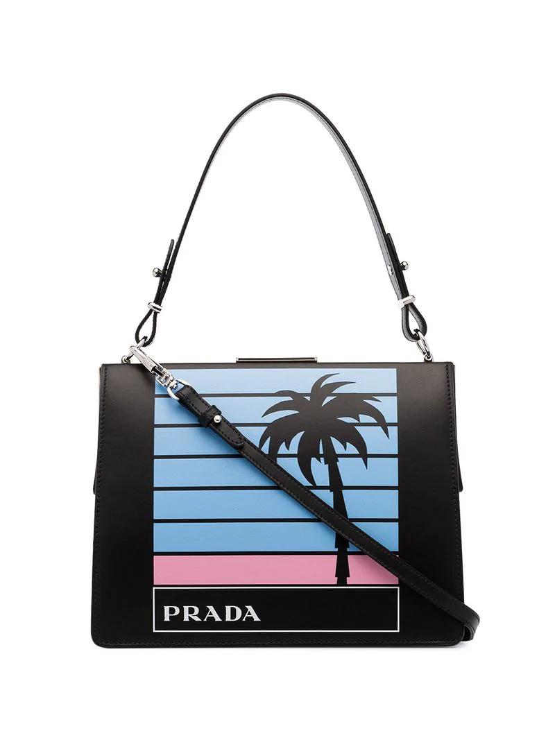 2f1aa049139751 Prada Black Palm Tree And Logo Printed Leather Bag | ModeSens