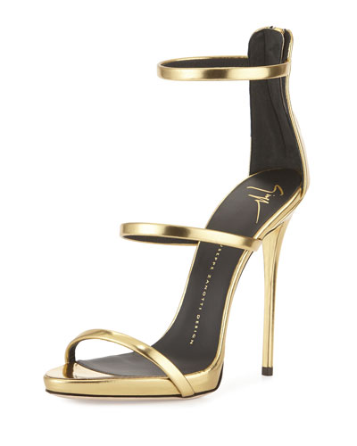 faab98814435a Giuseppe Zanotti Metallic Three-Strap Evening Sandal, Ramino In Gold ...