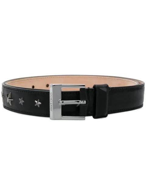 Jimmy Choo Star Studded Belt In Black