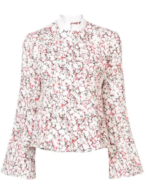 Rosie Assoulin Printed Peplum Shirt Multicolor In White