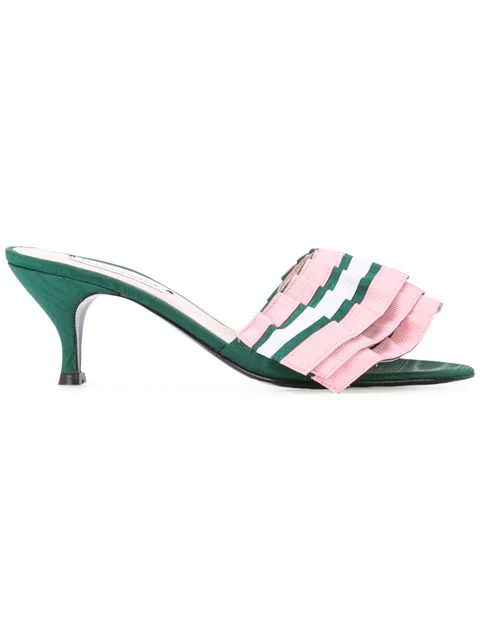 Leandra Medine Pleated Front Mules - Pink In Multi