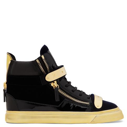 Giuseppe Zanotti 'Coby London' Leather Velvet Combo High Top Sneakers In Blue
