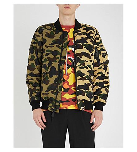 98d85df28e A Bathing Ape Camouflage-Print Shell Bomber Jacket In Green Yellow ...