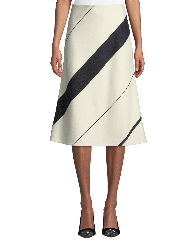e682aa96fe Narciso Rodriguez Striped Wool A-Line Midi Skirt In White/Black ...