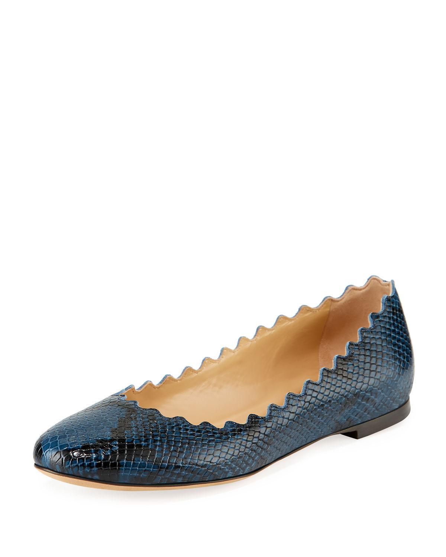 8406d8d6 Lauren Scalloped Snake-Print Ballet Flats in Navy