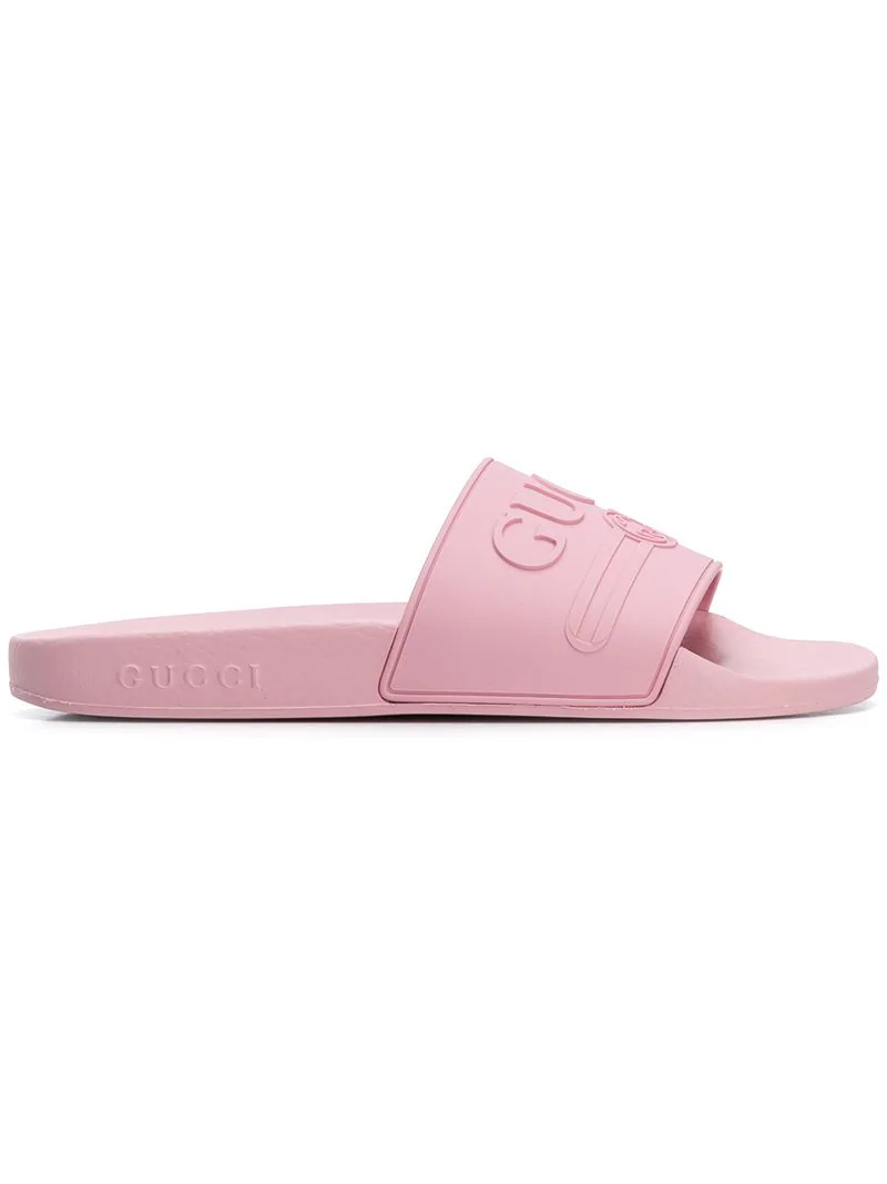bb5478b87eb Gucci Pursuit Rubber Logo Slide Sandals In Pink
