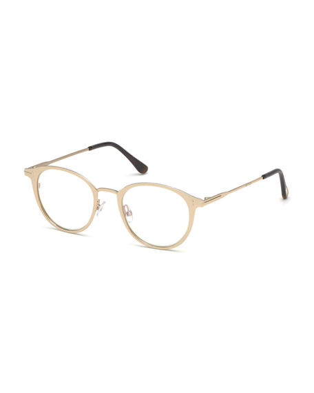 0a7ce8bf57 Tom Ford Blue Light-Blocking Oval Acetate Metal Optical Frames In Rose Gold