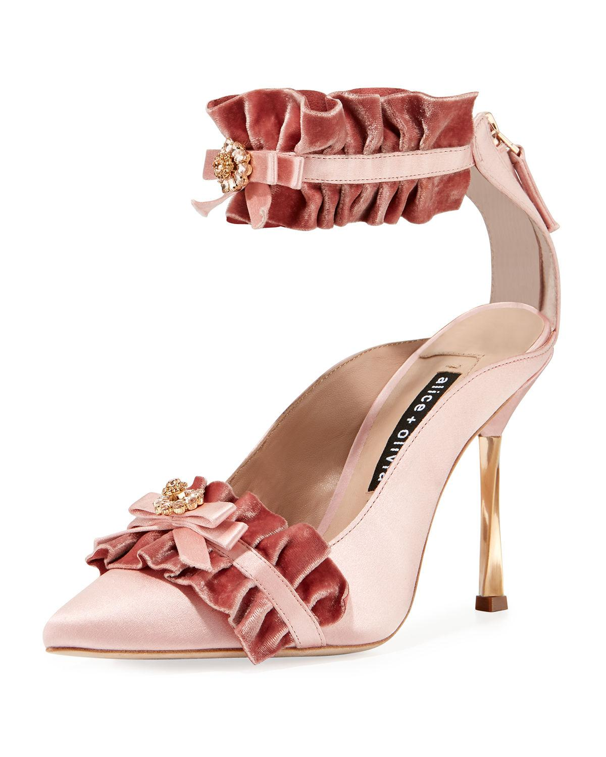 e284ad8bc16 Alice And Olivia Alfray Satin Ruffled Ankle-Strap Pump In Rose ...