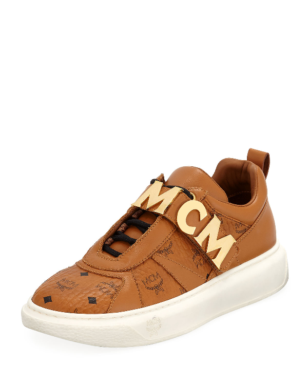 Mcm Men's Logo-Strap Leather Mid-Top Sneakers In Brown