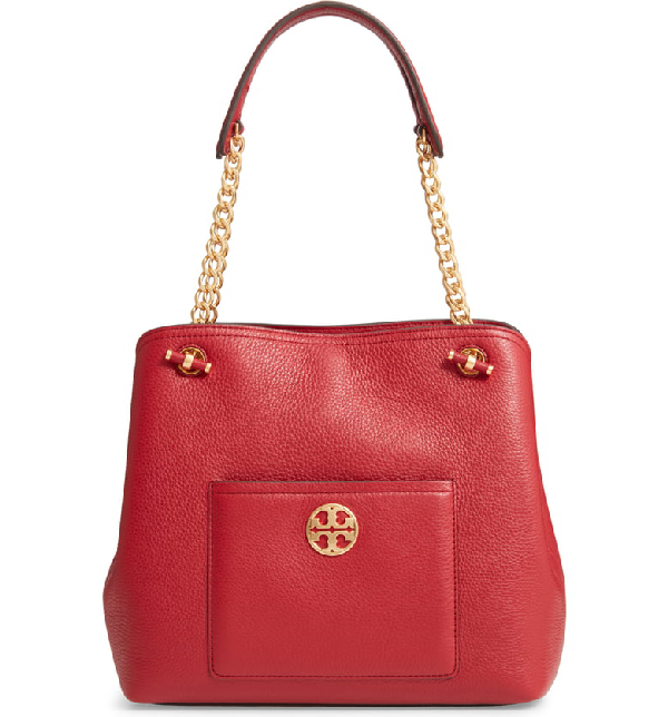 Tory Burch Chelsea Slouchy Leather Shoulder Tote Bag In Redstone
